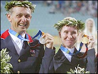Britain's Leslie Law (left with silver medal) and Germany's gold medallist Bettina Hoy