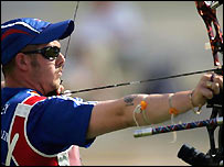 British archer Laurence Godfrey in action