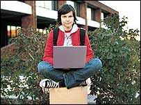 Girl using a wi-fi laptop