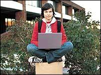 Girl using a wi-fi laptop