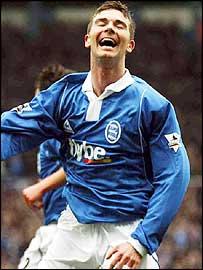 Bryan Hughes celebrates scoring his opening goal for Birmingham