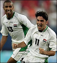 Mohammed Hawar Mulla of Iraq celebrates scoring against Costa Rica