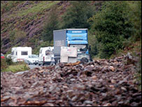 Rubble blocks the A85 after the two landslides trapped drivers