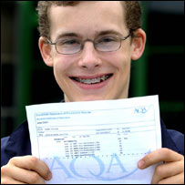 Joshua Scotton (18) from Derby College with his results