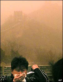 Dust srirls near China's Great Wall   AP