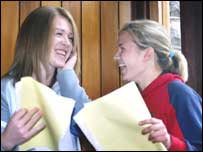 Ballyclare pupils Clare Dundee and Leigh Whiteside receive their results