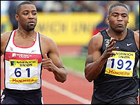 Darren Campbell and Mark Lewis-Francis in action in the Olympic trials