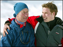 Prince William and his father, Prince Charles, in the exclusive alpine resort of Klosters, in Switzerland