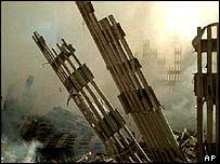 The ruins of the Twin Towers