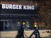 Firefighters outside Burger King
