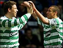 Alan Thompson and Henrik Larsson celebrate at Ibrox