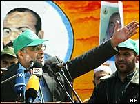 Abdel Aziz al-Rantissi addresses supporters at the Islamic University in Gaza City