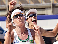 Brazil's Adriana Behar (right) and Shelda Bede celebrate their win over Cuba