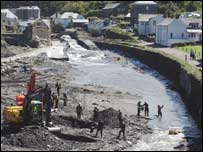 Clear-up operations in Boscastle, Cornwall.