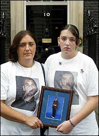 Rose Gentle and her 14 year old daughter Maxine outside 10 Downing Street