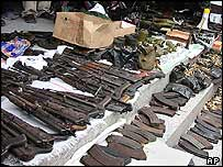 Weapons seized after the Kinshasa attacks