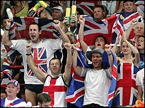 British fans cheer on Nathan Robertson and Gail Emms in the mixed doubles badminton final