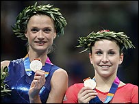 Svetlana Khorkina and Carly Patterson