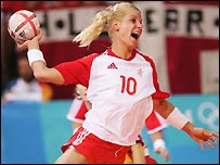 Rikke Hoerlykke Joerensen of Denmark scores against Spain