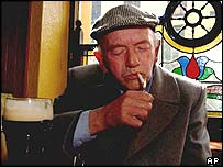 Seamus Copeland of Wicklow town lights his last cigarette before the ban in The Mariner Bar