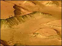 Martian canyon, European Space Agency