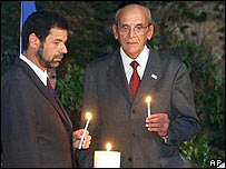 Ambassador Aram Aviram, left, and Moisis Constantini, president of the Jewish community of Greece, at a memorial ceremony  for the athletes killed at 1972 Munich Olympics