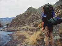 backpacker in Idaho, USA