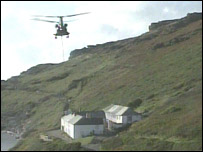 Chinook helicopter at Boscastle