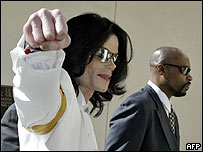 Michael Jackson outside court on Monday