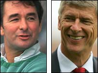 Ex-Nottingham Forest boss Brian Clough (left) and Arsenal manager Arsene Wenger