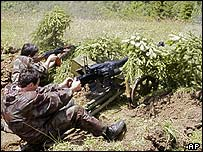 Volunteers on exercise in South Ossetia