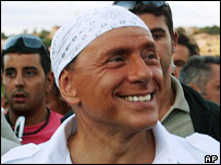 Silvio Berlusconi with white bandana