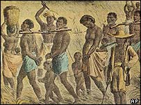 Undated photo of an illustrated depiction of slaves in captivity