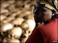 Genocide memorial site guardian with skulls