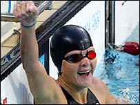 Zimbabwe's Kirsty Coventry after winning