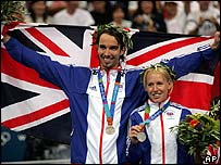Badminton silver medallists Nathan Robertson, left, and his team-mate Gail Emms,