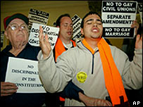 Protesters at the Massachusetts state house in Boston, 29 March 2004