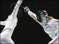 German fencer Britta Heidemann duels with Russia's Tatiana Logounova