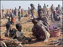 Displaced people in central Angola