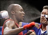 Ugandan boxer Sam Rukundo at the Athens Olympics