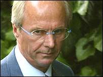Sven-Goran Eriksson, t�cnico de la selecci�n inglesa.