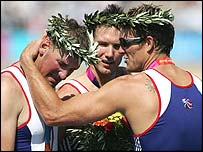 Matthew Pinsent is overcome with emotion after the win