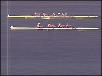 The photo finish from the men's coxless four