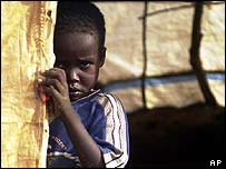 Boy in a refugee camp in Sudan