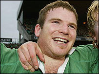 Ireland centre Gordon D'Arcy celebrates victory over Scotland