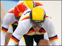 Germany in action at the Athens velodrome
