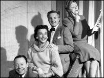 The 1955 cast of Auntie Rides Again for the BBC Home Service