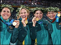 Pietra Thomas (left to right), Jodie Henry, Giaan Rooney and Leisel Jones of Australia celebrate gold