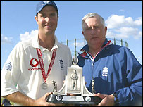 Vaughan and Fletcher with the Wisden trophy