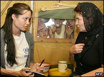 Angelina Jolie with Chechen refugees